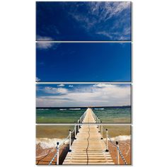 DesignArt 'Long Pontoon in Sea' 4 Piece Photographic Print on Wrapped Canvas Set