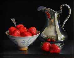 Still Life with Strawberries in a Qing Bowl and Silver Jug