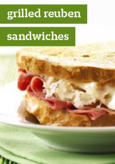Grilled Reuben Sandwiches – These Reuben sandwiches are stacked with corned beef, sauerkraut and Swiss, dressed with Thousand Island and skillet-cooked until golden brown.