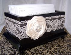 Wedding Guest Book Box Basic Black Box with Ivory Lace by itsmyday, $48.00