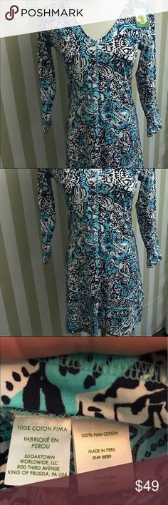 Lilly Pulitzer Juliet Dress size Small NWT Lilly Pulitzer Juliet Dress Style: 91327 SHORELY BLUE Print Name: Hippy Hippy Shake Size: Small  New With Tags 3/4 length sleeve. Printed V-neck dress with center front seam and stitch detail. 100% Pima cotton. Lilly Pulitzer Dresses