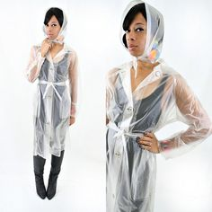 vintage 60s 70s retro CLEAR trench coat with bonnet size M L by PasseNouveauVintage, $48.00