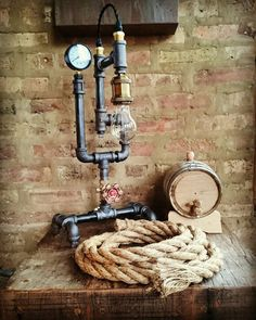 The Pub Lamp - Industrial Pipe Lamp with on/off valve, antique brass, steam gauge, and vintage cord options