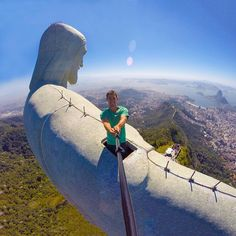 Epic shot by hero @thiagomlcorrea from Christ The Redeemer Monument in Rio de Janeiro. What an amazing view over the city of Rio de Janeiro. #GoPro #wanderlust #travel #landscape #riodejaneiro #brazil