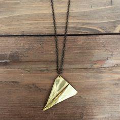 Brass Airplane Necklace