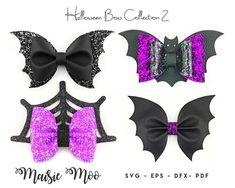 Halloween Bow Bundle Bat Bow Template SVG Bundle Black Bow   Etsy Bat Silhouette, Silhouette Projects, Bow Template, Templates, Halloween Bows, Glitter Canvas, Bow Pattern, Bow Design, Diy Hair Bows