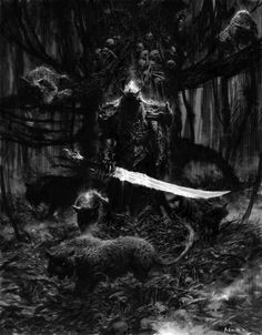 fantasy horror art | ... book2 illo2 Picture (2d, fantasy, horror, warrior, demon, creatures