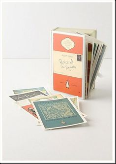 book cover postcards; great for book themed weddings as invite response card or guestbook alternative