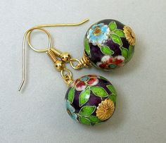 Vintage Chinese Cloisonne Bead Earrings, Purple,Turquoise, Green ,Gold