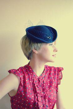 Victorian Blue mini riding hat #millinery #judithm #hats
