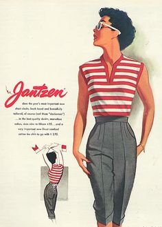 Illustration by Pete Hawley, April 1952, Jantzen ad, Seventeen.
