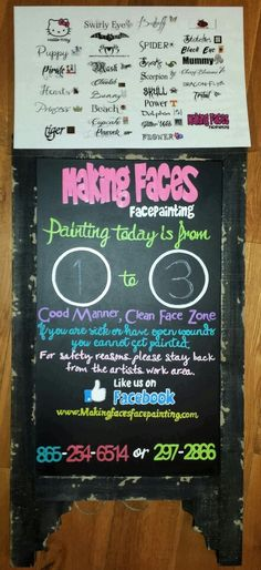 Face paint information board with word menu