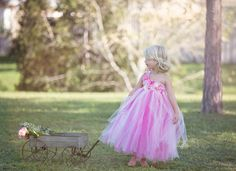 Pink Tutu Dress Flower Girl Dress Pink Orchids por TrendyBambini, $60.00