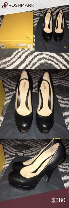 Black Authentic Fendi Pumps Black leather pumps with metal Fendi logo on fronts. This brand runs small so fits like US size 9. Shoes are in good condition with small sign of wear on the bottom of the heels, as seen in the photos. Fendi Shoes Heels
