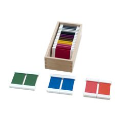 Color Tablets (2nd Box) from Montessori Outlet $17.95 The Color Tablets (Box 2) teach the primary and secondary colors, and help to improve order, independence, and concentration. 11 pairs of the colors: red, yellow, blue, orange, green, purple, brown, pink, grey, black and white in a wooden box with lid. Each tablet has white frames to facilitate handling.