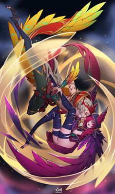 Xayah & Rakan by citemer HD Wallpaper Fan Art Artwork League of Legends lol Lol League Of Legends, Rakan League Of Legends, League Of Legends Characters, Anime Fantasy, Fantasy Art, Character Art, Character Design, Lol Champions, Fanart