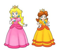 This is me and my sister! Ha but she likes daisy and says she's daisy! I am peach since I got the blonde hair and she has the brown hair! Mario Princess Daisy, Princess Peach Party, Nintendo Princess, Super Mario Bros, Super Mario Birthday, Mario Crafts, Luigi, Paper Doll Craft, Comic Con Cosplay