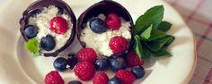 Čokoládové škrupinky s tvarohom a ovocím
