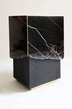 Meta End Table in Black Marble, Dyed Solid White Oak with Brass Details In Excellent Condition For Sale In Brooklyn, NY Contemporary Side Tables, Lobby Design, Cool Furniture, Luxury Furniture, Modern Furniture, Furniture Design, Pedestal, Low Tables, Sideboard