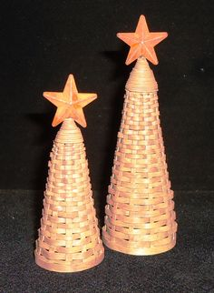 Pencil Trees topped with a metal star - 2 size - Tall - $24 and Small - $22 Pencil Trees, Metal Stars, Tree Tops, Baskets, Miniatures, Heart, Crafts, Basket, Crafting