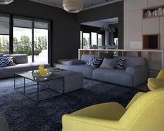 Amenajare living - Design interior contemporan Living, Design Interior, Design Projects, Couch, Furniture, Home Decor, Houses, Sofa, Sofas