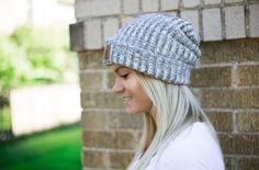 Navy speckled leather patched cuffed beanie ($30) (love your melon)
