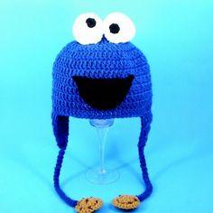 Cookie Monster Earflap Hat from Sesame Street, Blue Crochet Beanie,......