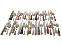 New to LaurasLastDitch on Etsy: Rustic Mismatched Flatware Set Stainless Silverplate Nickel Silver Bakelite Plastic Wood Handles Cabin Decor (38.99 USD)