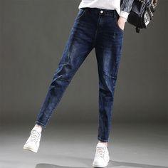 2017 Jeans Women Denim Pants High Waist Casual Loose Trousers Fashion Spring Harem Pants Jeans Female Y324 #Affiliate