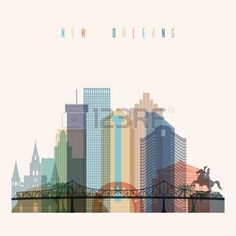 bridge logo: Transparent styled New Orleans state Louisiana skyline detailed silhouette. Trendy vector illustration