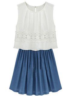 Vestido gasa plisado con encaje sin mangas-Blanco y azul EUR17.49 www.sheinside.com