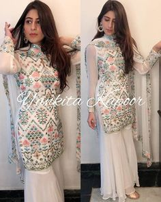 You will find best beauty products on Ange Beauty Sharara Designs, Kurti Designs Party Wear, Dress Indian Style, Indian Dresses, Ethnic Outfits, Indian Outfits, Patiala, Salwar Kameez, Salwar Suits