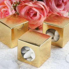 "100 PCS Gold Ballotin Favor Boxes Bridal Shower Party Favor Gift Container - 2""x2"""
