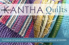From Maiwa in Vancouver, BC. Always interesting work at Maiwa. Rag Quilt Patterns, Jelly Roll Quilt Patterns, Antique Quilts, Vintage Quilts, Vancouver, Indian Quilt, Fish Quilt, Embroidered Quilts, Kantha Quilt