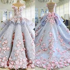 Women's Dress Fairy Sweet Wedding Stereo Lace Flower Wedding Dinner Party Formal Dress Trailing Long Wedding Dress Source by dresses wedding Pretty Quinceanera Dresses, Cute Prom Dresses, Long Wedding Dresses, Pretty Dresses, Formal Dresses, Sweet 15 Dresses, Awesome Dresses, Sweet Dress, Elegant Dresses