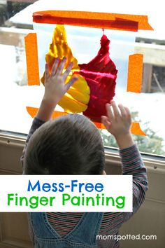 Mess Free Finger Painting for toddlers!