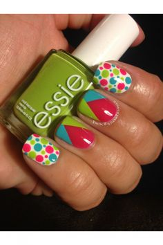 An absolutely adorable pink/turquoise/green design with essie nail polish! I love how fun and bold this is! Fancy Nails, Love Nails, Diy Nails, Fabulous Nails, Gorgeous Nails, Pretty Nails, Essie, Nails Polish, Manicure Y Pedicure