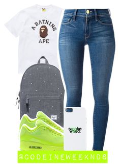 """""""10:13:15"""" by codeineweeknds ❤ liked on Polyvore featuring A BATHING APE, Herschel Supply Co., Frame Denim and NIKE"""