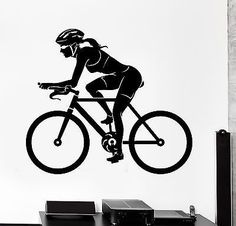 Our vinyl stickers are unique and one of a kind! Every sticker we sell is made per order and cut in house! We make our wall decals using superior quality interior and exterior glossy, removable vinyl Road Bike Women, Bicycle Women, Wall Stickers Sports, Cycle Drawing, Sport Logos, Bike Silhouette, Female Cyclist, Buy Bike, Bicycle Art