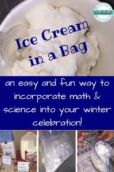 Ice Cream in a Bag…such a fun way to incorporate real world math (measurement) and science (states of matter) into your winter celebration, or anytime really. Fun tutorial and video!