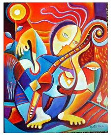 Solitary Musician Acrylic on canvas by Marlina Vera