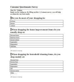 Questionnaire Template 33