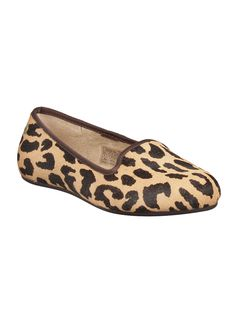 Elegant striking and sophisticated, this exotic flat features animal-printed bovine fur, sheepskin footbed, soft suede lining, and satin bindings. A lithe molded-rubber bottom finishes an indoor/outdoor women's fur slipper set apart by grace and style. So step in or step out but make sure you step with these exotic shoes.