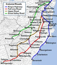 Colonial Roads in Eastern US - 1700s 1800s
