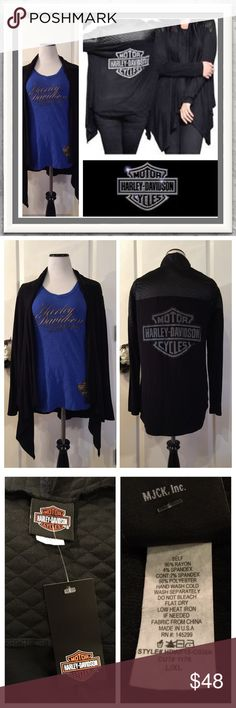 "NWT Harley Davidson Long Sleeve Black Cardigan NWT This is a gorgeous Harley Davidson Cardigan with a Reflective Bar and Shield Logo outlined in rhinestones. Flyaway Style Cardigan. Quilted detail on shoulders and back and front yoke. Size L/XL. Made of 96% Rayon / 4% Spandex Laying flat measures approximately 24"" armpit to armpit/ 29"" from the shoulder to the bottom of the shortest hem and 34"" to the bottom of the flyaway tip. Listing is for Cardigan only. Thanks so much for stopping by…"