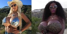 Glamour model Martina Big, now black visit Hollywood with her massive boobs
