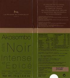 tablette de chocolat noir dégustation la maison du chocolat akosombo noir 68 http://www.lamaisonduchocolat.com/