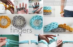 How to DIY Jersey Finger Knitted Bracelets from Old T-shirts (Video)