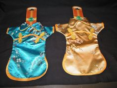 Dress Up A Bottle of Wine Hostess Gift Chinese Dress Bag Pair Blue Gold New