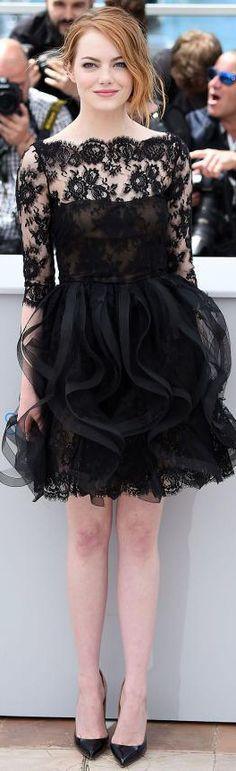 Emma Stone in a black lace ruffled Oscar de la Renta Dress